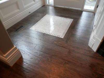 custom inlay hardwood flooring installation